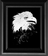 Framed glass engravings designed by our own resident artist. The 8 X 10 frames are made in the USA as well. This is exotic artwork that you will be proud to hang on your wall or place on your fireplace mantel!